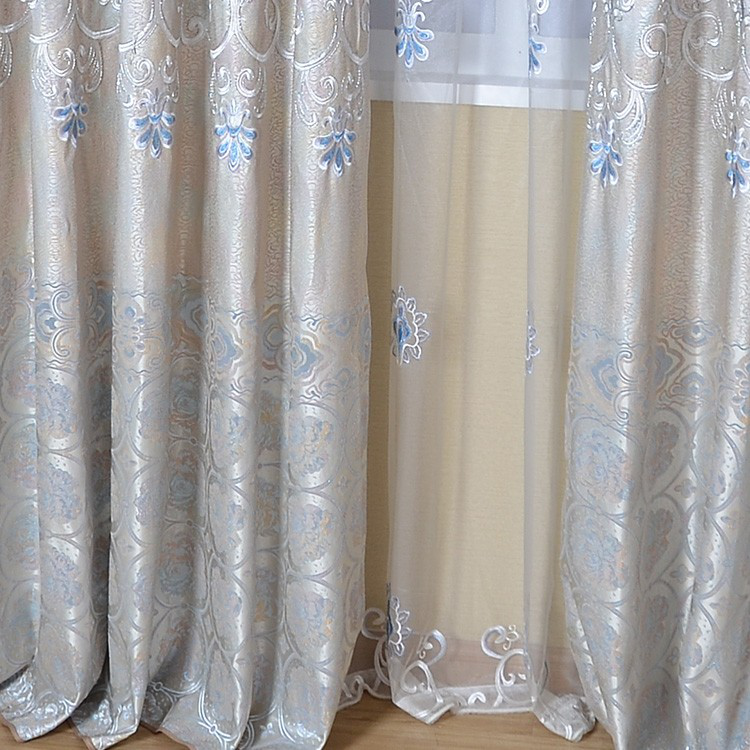 Embroidered voile curtain leaf pattern tulle drapery
