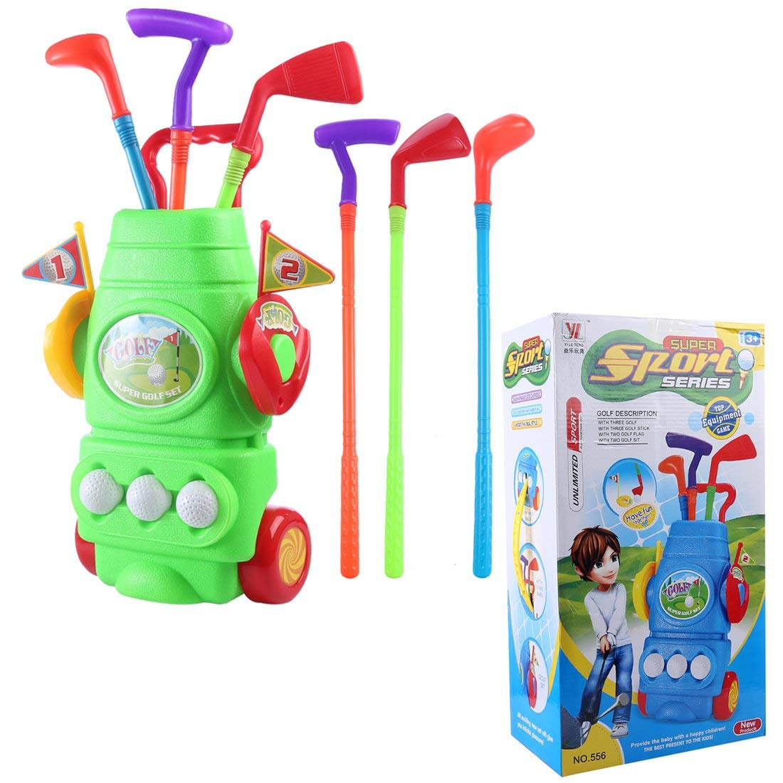 RuiyiF Golf Toy Set for Toddler Boys Girls, Plastic Golf Play Set for Kids 3-5 (3Golf Balls, 3Golf Clubs, 2Ball Holes,1Trolley Case)