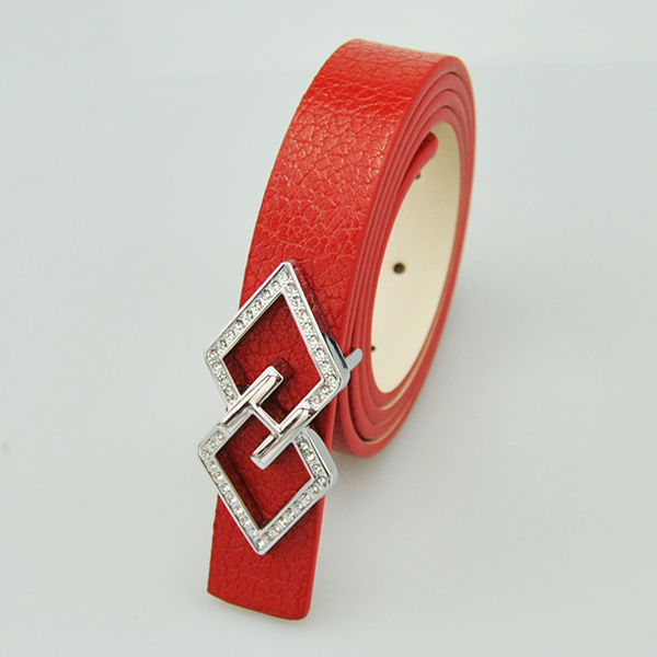 "1 "" Wholesale cheap alloy flat buckle fashion microfiber red waist belts women"