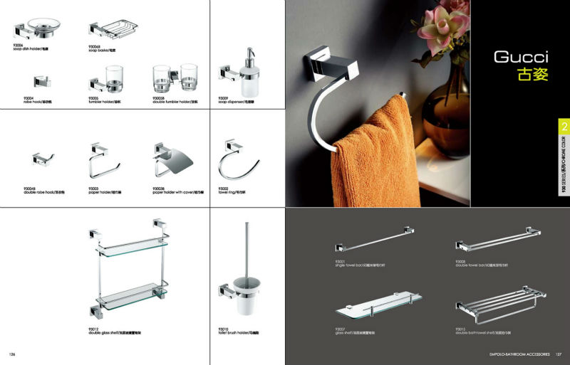 Square design chrome washing room double cloth robe hook
