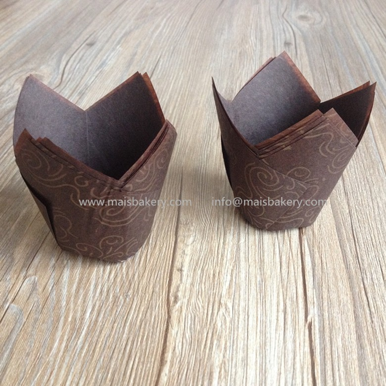 Disposable single wall dark brown with gold wave tulip muffin wraps baking cups