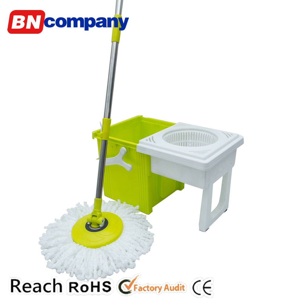 Floor Mop Green Single Bucket Drawer Folding Easy Stainless Steel Spin Magic 360 Mop