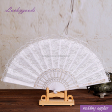 LGF018 elegant double layer fabric white lace wedding fans for sale