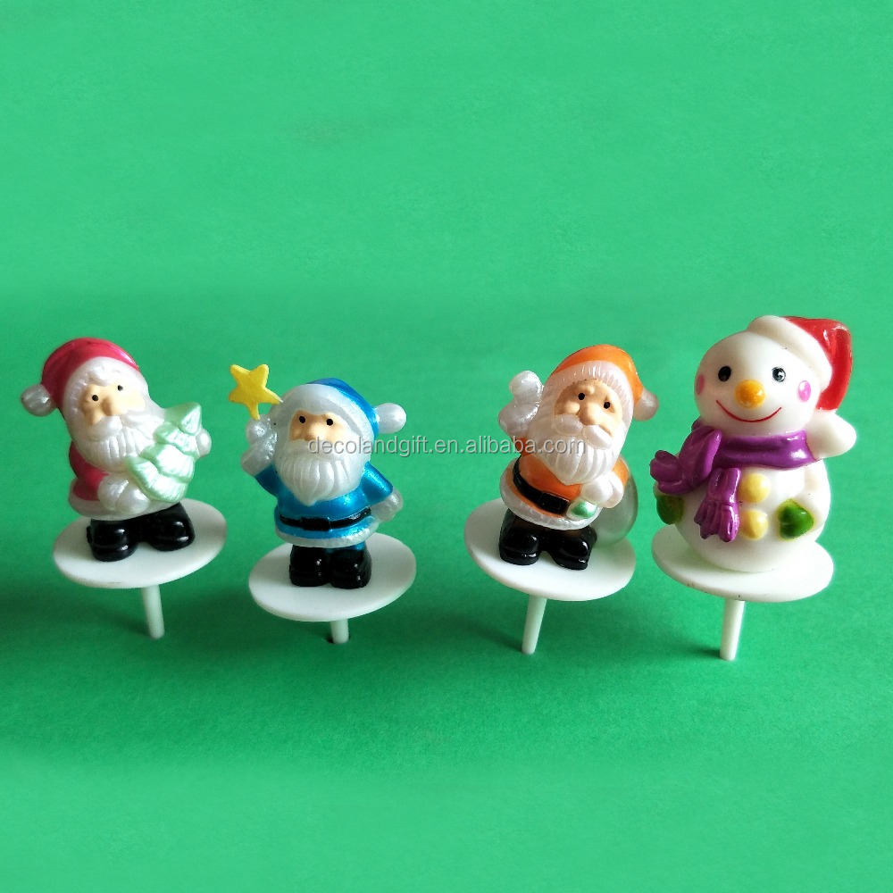 plastic santa and snowman christmas cake decoration pick,christmas cake ornament, cake topper