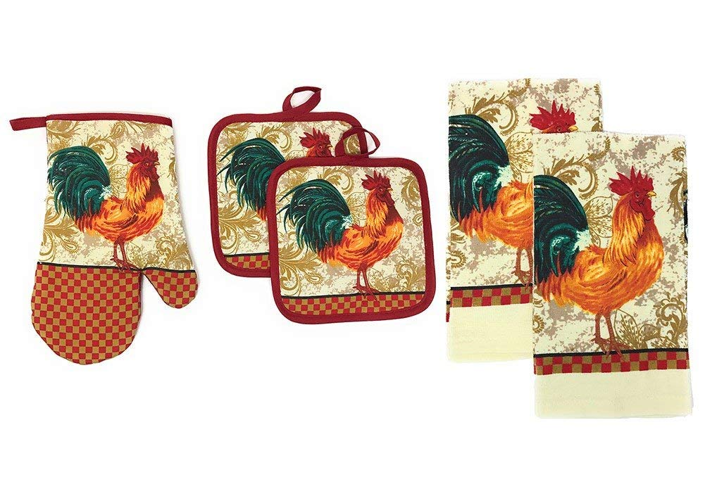 5 Piece Set Includes 2 Kitchen Towels, 2 Pot Holders and 1 Oven Mitt, Rooster
