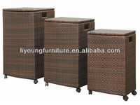 three sizes home garden used waterproof cheap PE rattan weaved hotel storage box with removable lid