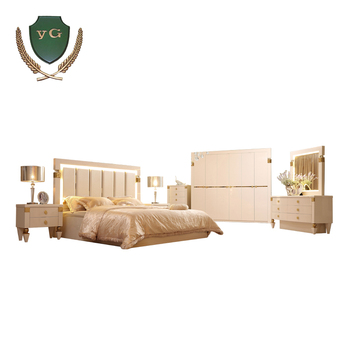 Luxury Modern Room Mdf European Style royal  bedroom furniture set with LED light
