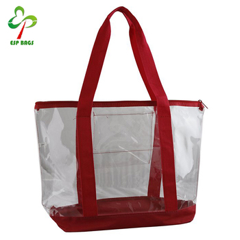 85cb8aa6495aef China online women transparent plastic beach bag, large clear PVC tote  shopping bag with zipper