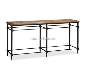 FuRui Industrial Style Recycled Wood Top Metal Base Console Table