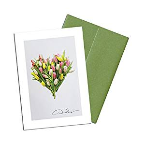 Donald Verger Photography Fine Art Note Cards. Elegant Tulip Heart. 3.5x5. Set of 8 Best Quality, Blank Folded Cards with Matching Envelopes. Unique as Thank You Notes, Invitations & Gifts.