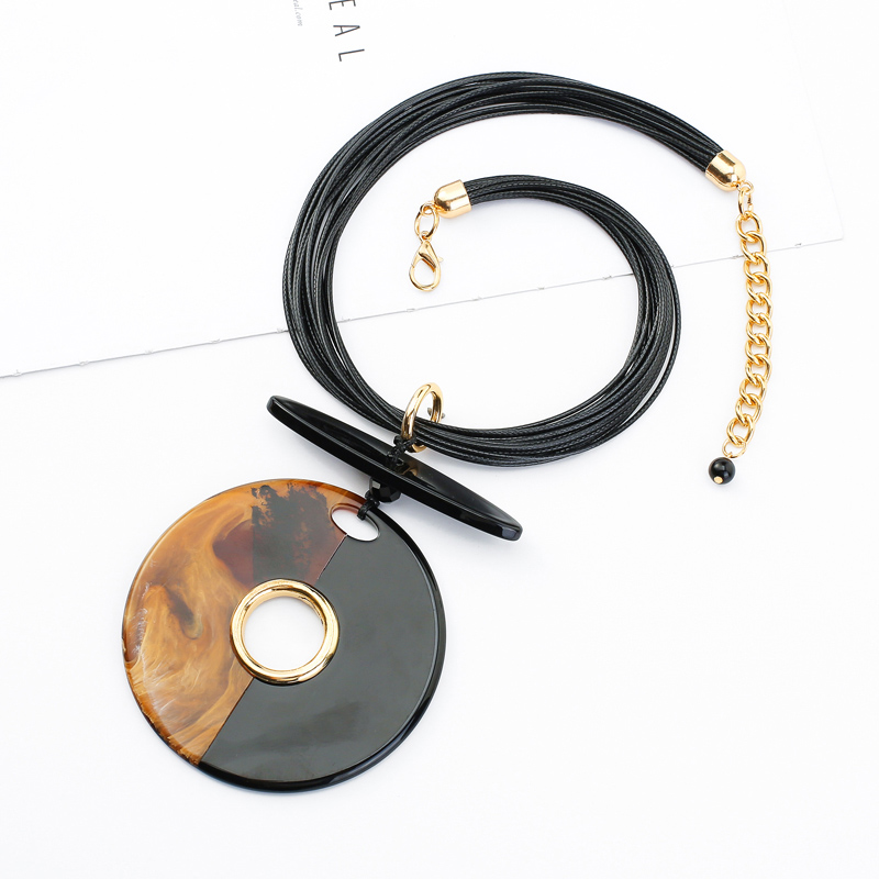 Punk style high quality charm unique black color layered PU necklace for women jewelry
