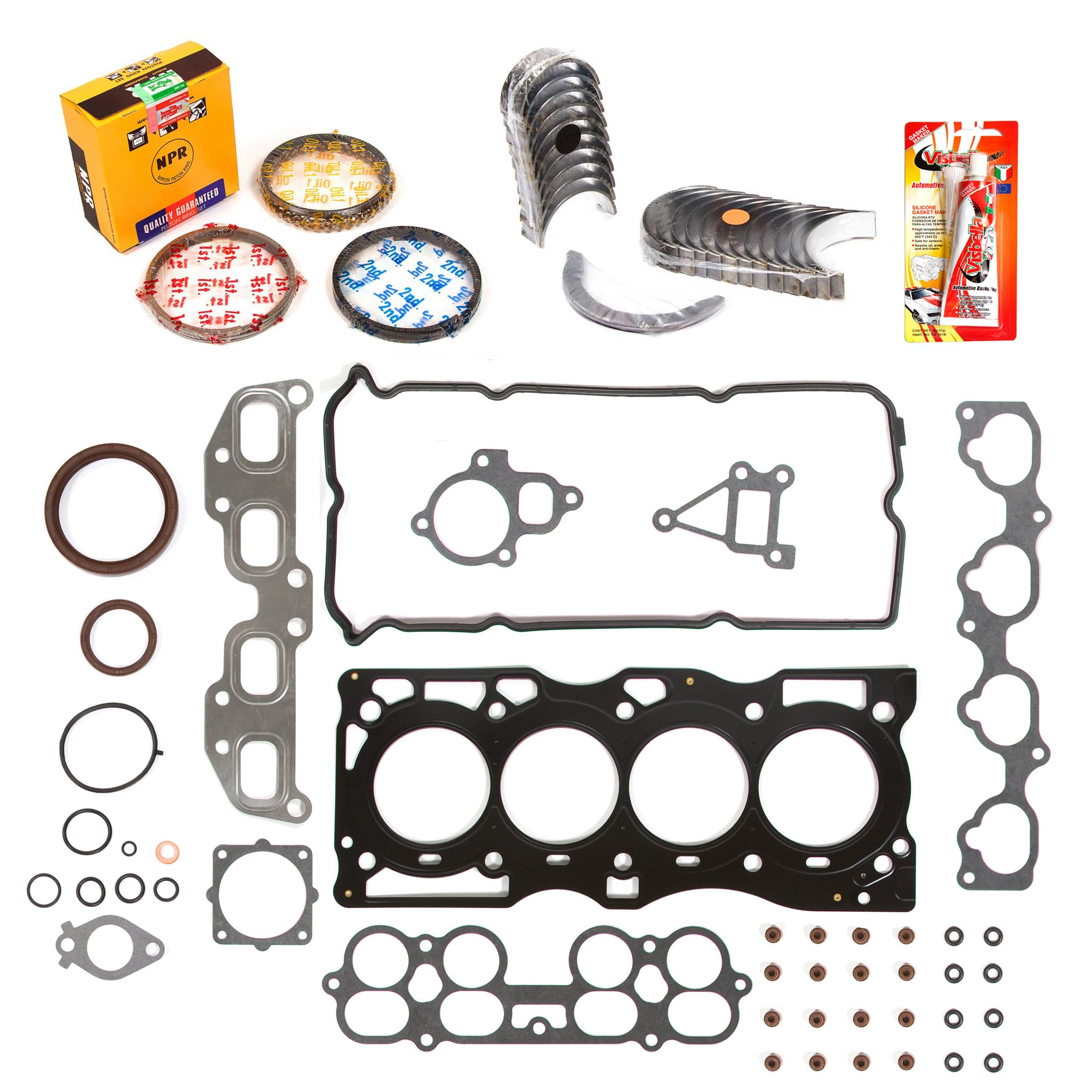 Domestic Gaskets Engine Rering Kit FSBRR3032\0\0\0 02-06 Nissan Altima Sentra 2.5 QR25DE Full Gasket Set, Standard Size Main Rod Bearings, Standard Size Piston Rings