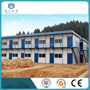 Blue roof double slope prefabricated /prefab/modular steel sandwich panel house prices