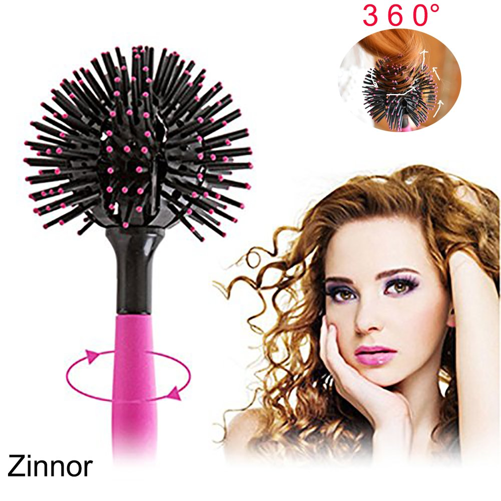 Zinnor Christmas Gift,3D Spherical Comb Curl Brush Styling Salon Round Hair Curling Curler Comb Tool Full Round Hot Curling Styling Brush for Girls and Women Magic Massage Comb Tool