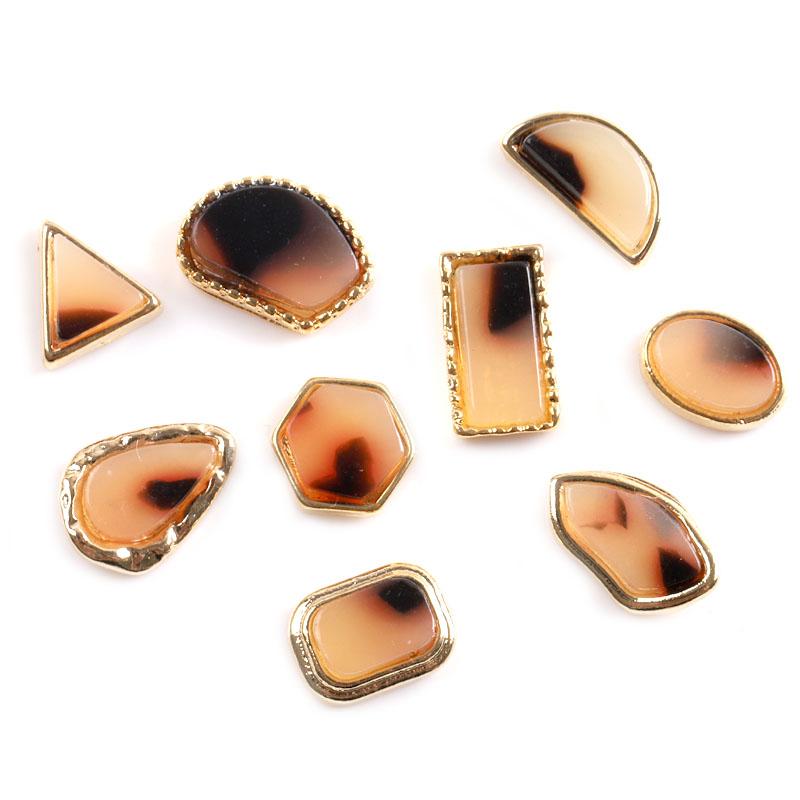 TSZS Japanese Style square triangle half round irregularity Amber With Gold Rim Imitate Stone Nail Art Decorations
