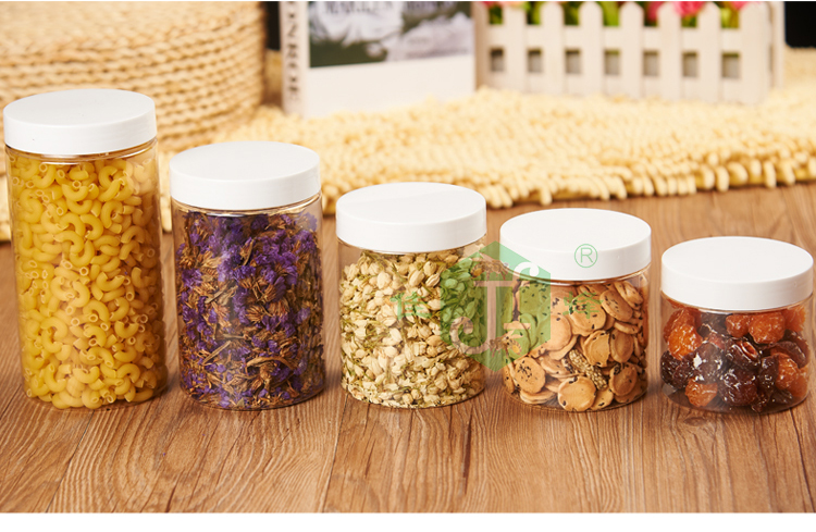 Round shape smooth side empty clear supplier clear plastic sweet candy jar 400ml 500g honey pot jars, 400ml honey jar