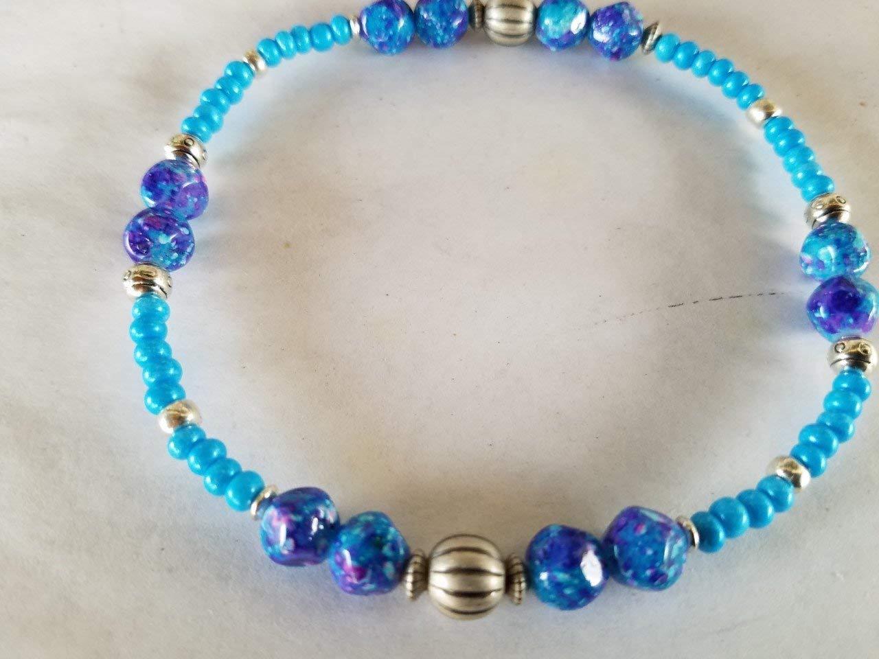 Anklets for Women Beach Anklets Boho Anklet Gemstone Anklets Summer Anklets Ankle Bracelet Faceted Glass Blue Purple White Beads Chic Anklet
