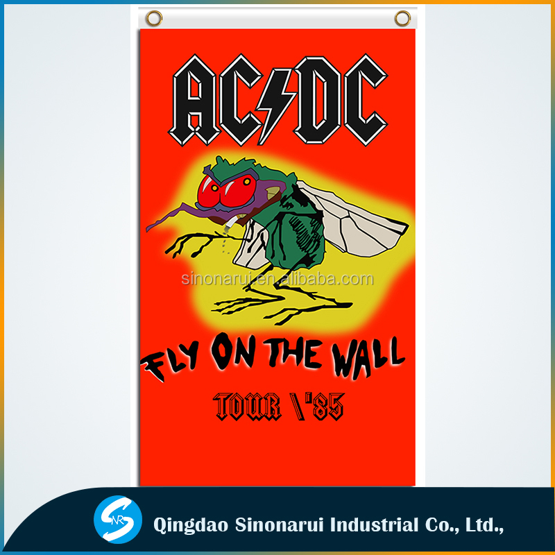 Classic Rock Music Fabric Prints 3x5ft Fly On The Wall ACDC Tour Custom Poster