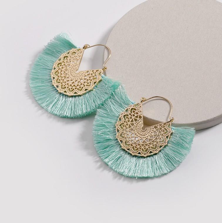 Wholesale Womens Alloy Silk Thread Hollow Fan Tassel Earrings Jewelry For Girls фото
