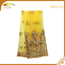 Great sales yellow swiss sequined voile lace for dress robe SD-JW01119