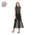 HAODUOYI Autumn Fashion Women Solid PU Patchwork Chiffon Sleeveless Long Coat Jacket Zipper Casual Outwear Top Tee for Wholesale
