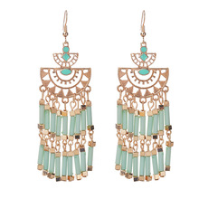 Xus Er12634 mental étnico tassel fringe semente bead dangle brincos