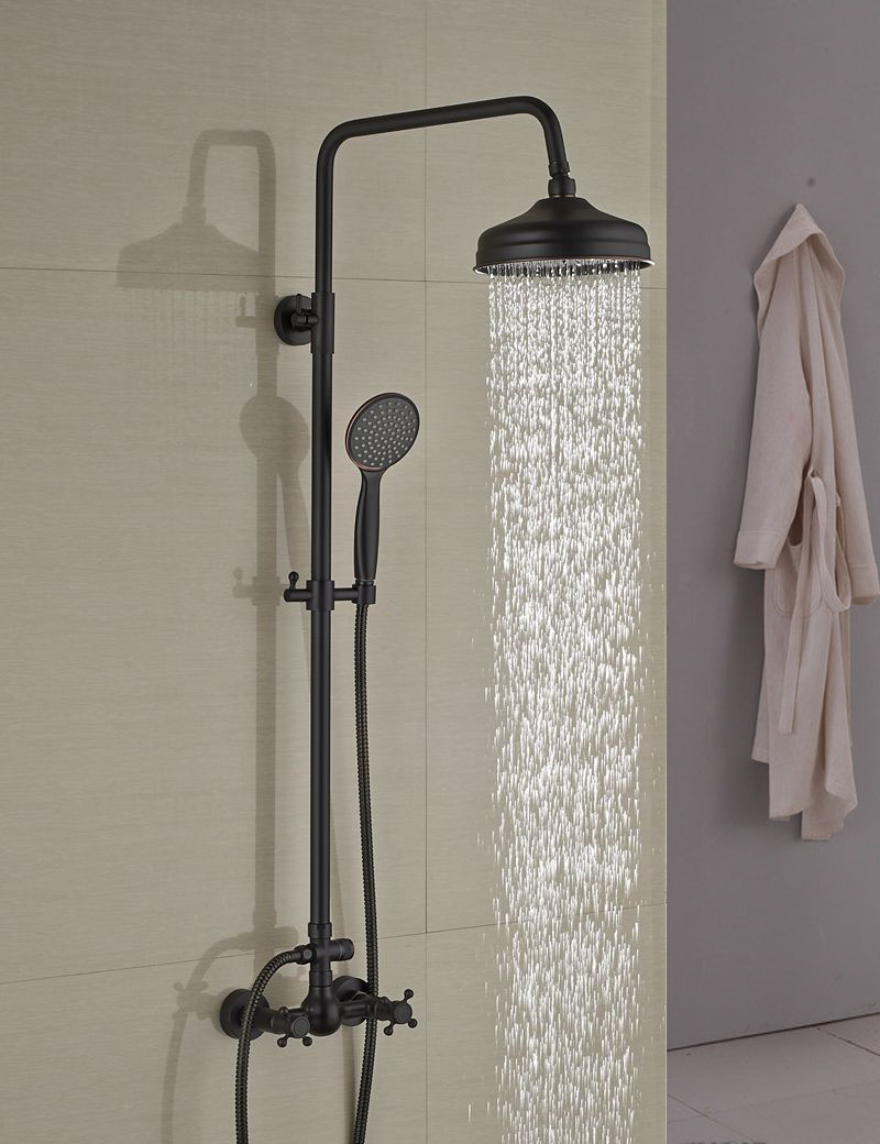Wall Mounted Oil Rubbed Bronze 8 Rain Shower Head Faucet