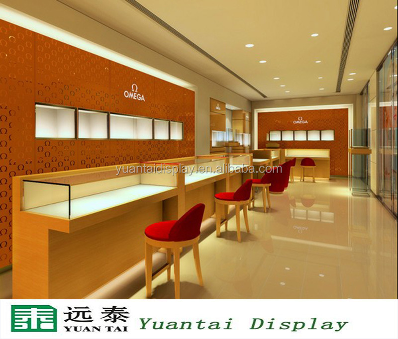 luxury wooden jewelry display showcase and wall cabinet with led