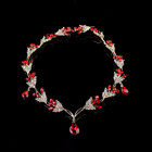 red Metal Leaves Rhinestone Hairband Headpiece Crown Tiaras with Forehead Bridal Wedding Hair Accessories