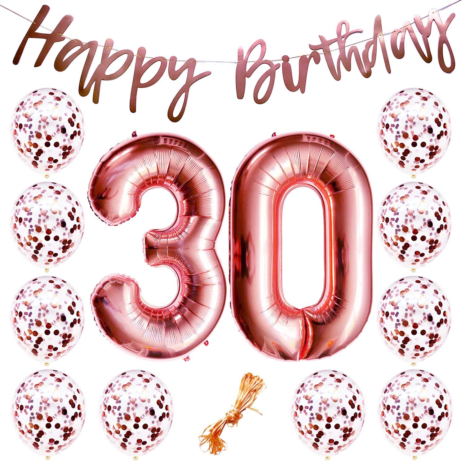 Get Quotations 30th Birthday Party Decorations Rose Gold Decor Strung Banner Happy 12PC Helium