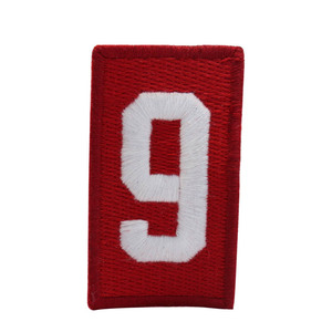 Wholesale customized number 9 embroidery heat cut patch for garment/bag/hat