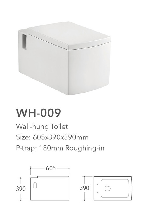 Square wall mounted Installation type ceramic p trap toilet