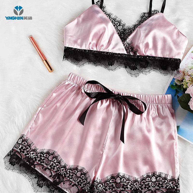 Low MOQ silk pajamas for women soft sexy nighty sex sleepwear lingerie CS-Z384 фото