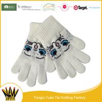 Wholesale new design girl exquisite winter lovely white gloves