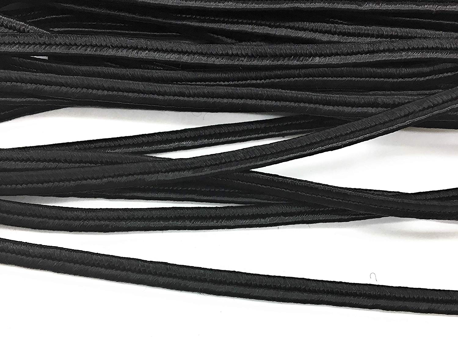 "Black Soutache - Black Braided Cord Beading,1/8"" (4mm) Sewing,Quilting Trimming - 10 Yards"