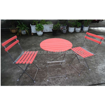 3 Piece Outdoor Patio Furniture Sets Bistro Steel Folding Table And Chair Set With Safe