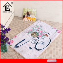 bicycle design flannel fabric printing carpet