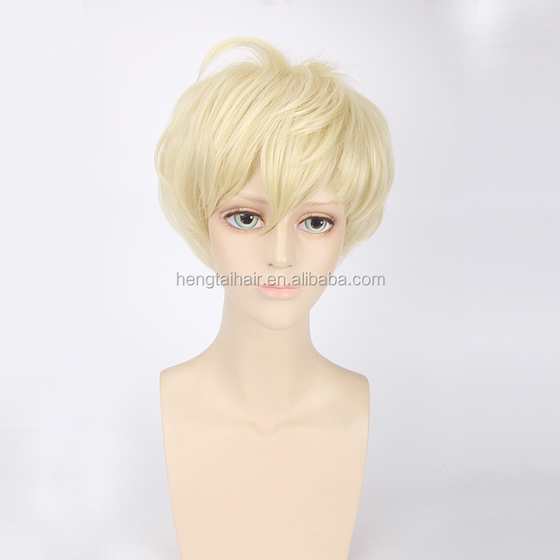 THE ANIMATION March YAYOI HARU Cosplay Wig Short Straight Blond 30cm 130g for Man Boys Heat Resistant Hair Wig Universal