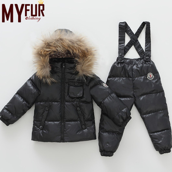 Warm Winter boys clothes sets Baby Down Jacket With Down Pant Suit With Fur Collar