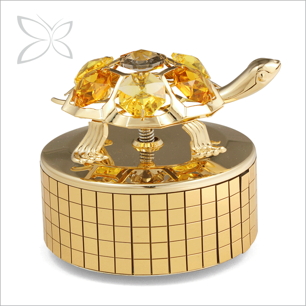 Hot Sale Stylish Gold Plated Metal Ceramic Music Box