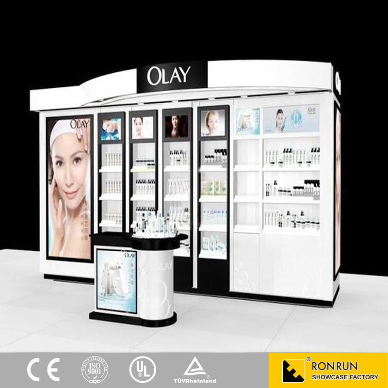 Beautiful cosmetic shop interior display stand counter design