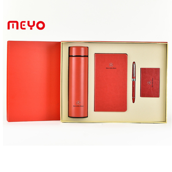 Red gift sets vacuum mug notebook pen card holder promotional gifts items for corporate