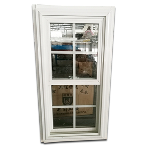American Style Pvc Double Hung Windows Fin Pvc Vinyl Window with Grilles Cheap Vertical Sliding Window