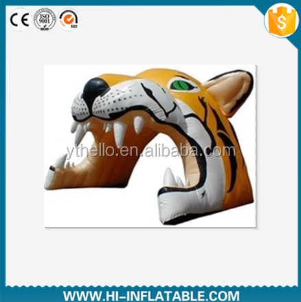 Newest brand Inflatable tiger head tunnel for football,baseball/inflatable mascot tunnel/inflatable sport tunnel