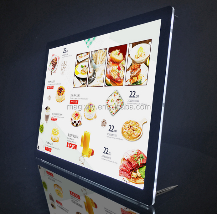 Magnetic Crystal light boxes tea shop bar table led Price List thin billboards custom a3