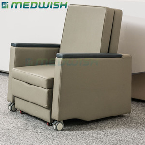 Adjustable comfortable folding new design hospital use single accompany leather folding sofa chair bed