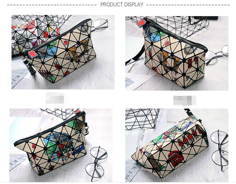 2018 New Design Travel Geometric Folding Rhombic Make-up Bag