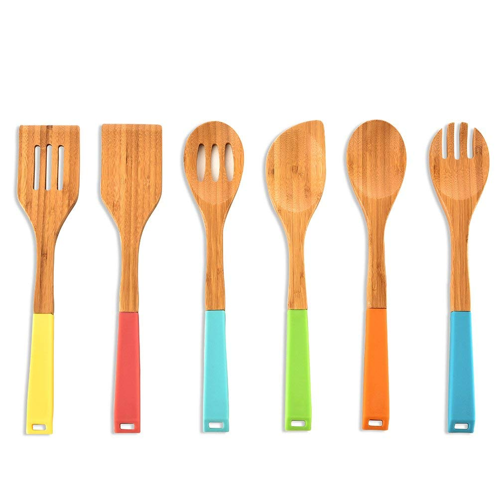 Get Quotations Colorful Silicone Handle Bamboo Spoons Non Stick Kitchen Cooking Utensil Set 6 Piece