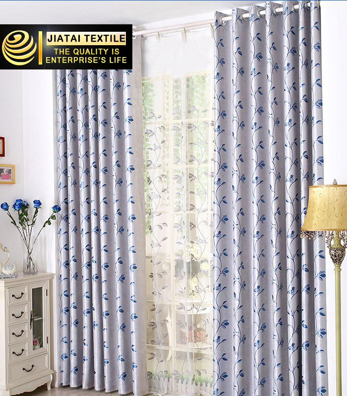 blue window curtain panels custom polyester jacquard long inexpensive curtains