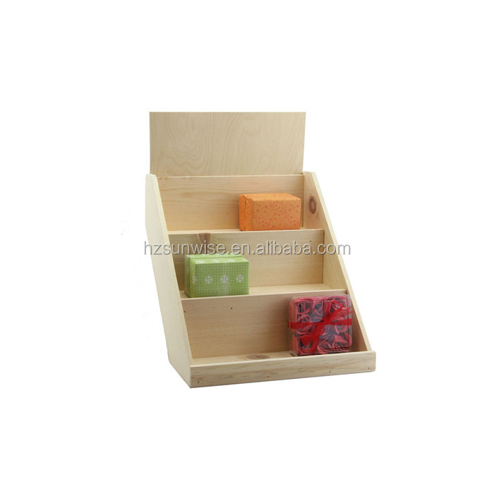 Cheap price wooden countertop retail soap display stands